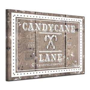 Ready2HangArt Wall Art Christmas Candycane Lane Canvas 16-in - Brown