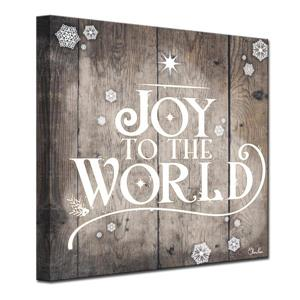 Ready2HangArt Wall Art Christmas Joy to World Canvas 12-in x 12-in- Brown