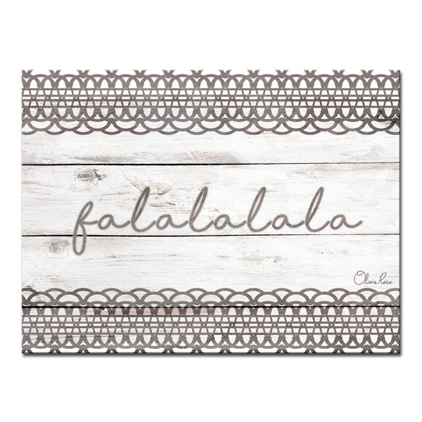 Ready2HangArt Wall Art Christmas Falala-in Canvas 30-in x 20-in - Brown