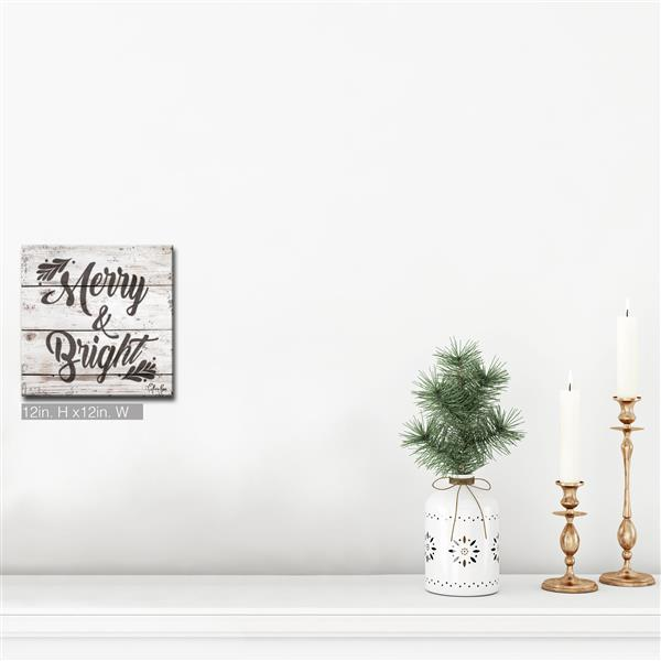 Ready2HangArt Wall Art Christmas Merry & Bright Canvas 12-in - Brown