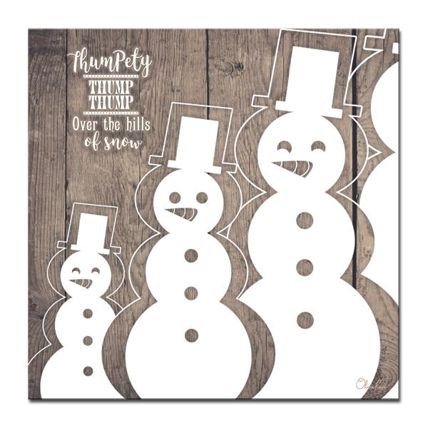 Ready2HangArt Wall Art Christmas Snowman Canvas 30-in x 30-in - Brown