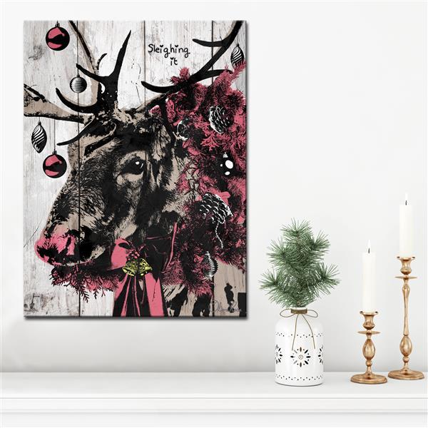 Ready2HangArt Wall Art Christmas Reindeer Canvas 16-in x 20-in - Brown