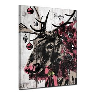 Ready2HangArt Wall Art Christmas Reindeer Canvas 12-in x 16-in - Brown