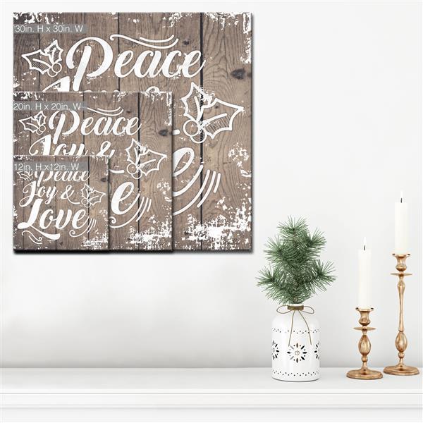 Ready2HangArt Wall Art Peace, Joy & Love Canvas 12-in x 12-in - Brown