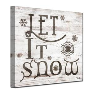 Ready2HangArt Wall Art Christmas Let It Snow Canvas 12-in x 12-in - Brown