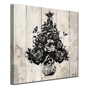 Ready2HangArt Wall Art Floral Christmas Tree Canvas 12-in x 12-in - Brown