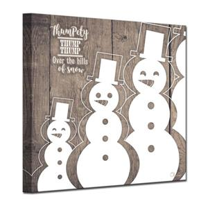Ready2HangArt Wall Art Christmas Snowman Canvas 20-in x 20-in - Brown