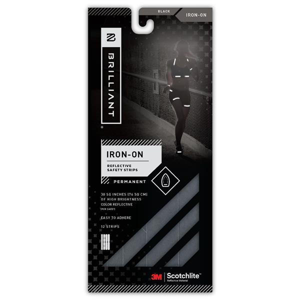 Spacio Innovations Inc. Reflective Strips Iron-On Black - 12 Strips