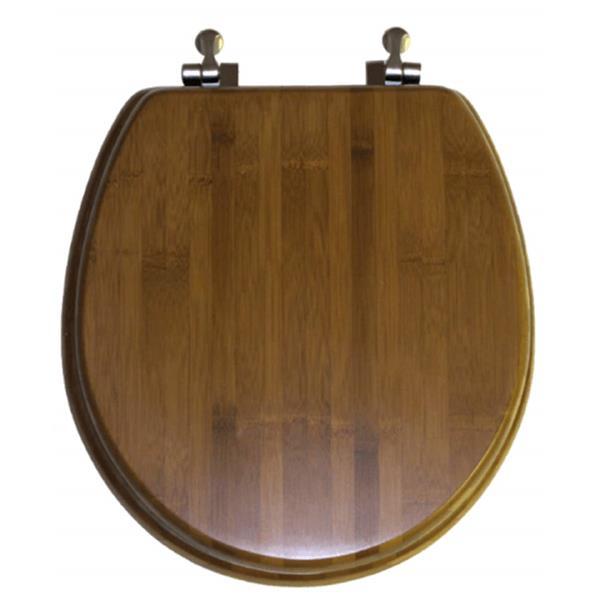 Siège de toilette Spacio Innovations Inc. rond en bois de bambou naturel