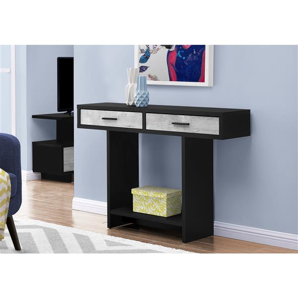 Monarch Console Table with Drawer -  Black/Grey Reclaimed Wood Look - 48-in