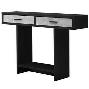 Table console Monarch avec tiroirs, noir/imitation bois gris, 48 po