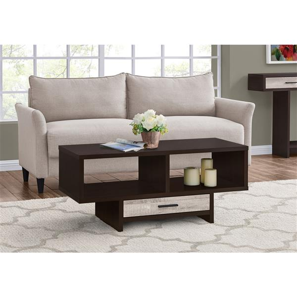 Table de salon Monarch avec rangement, cappuccino/imitation bois taupe
