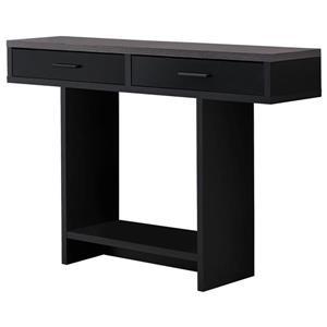 Table console Monarch avec tiroirs, noir et dessus gruis, 48 po