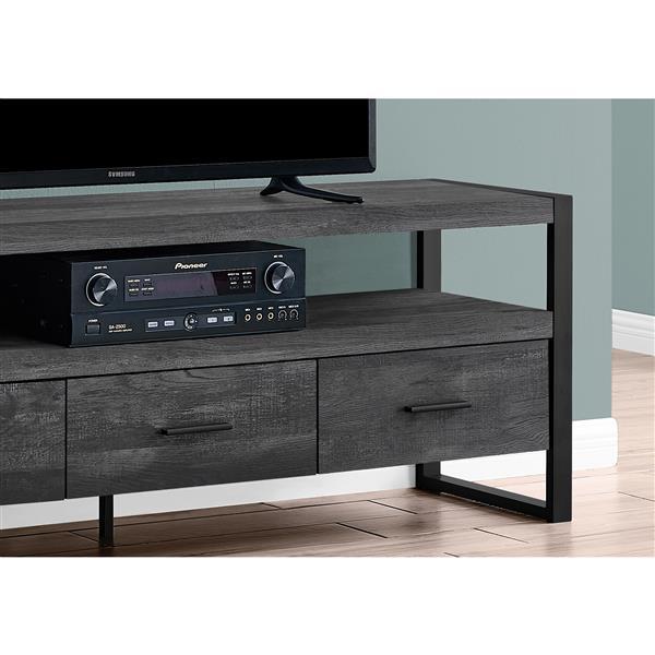 Meuble TV Monarch à 3 tiroirs, imitation de bois noir, 60 po