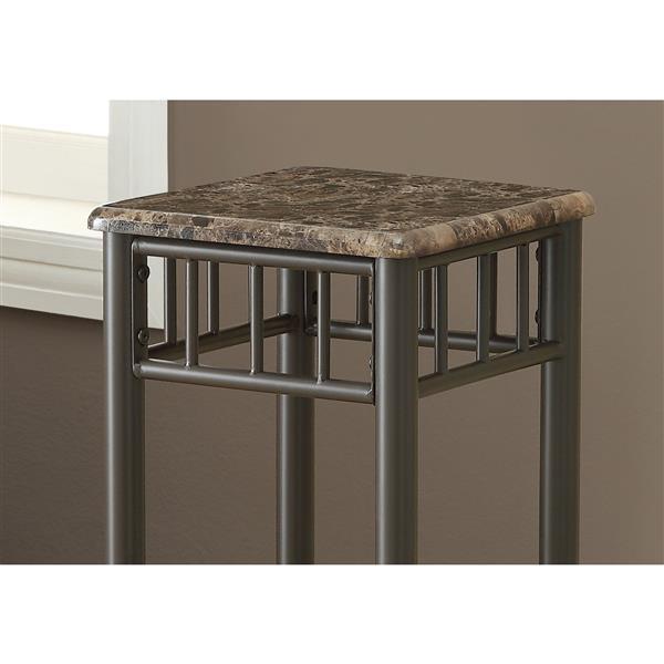 Support à plante, marbre cappuccino et métal bronze, 28 po
