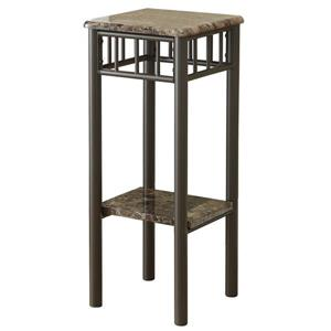 Monarch Accent table - Cappuccino marble / Bronze Metal - 28-in