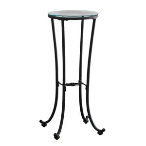 Monarch Plant Stands - Black Metal and Tempered Glass - 28.5-in