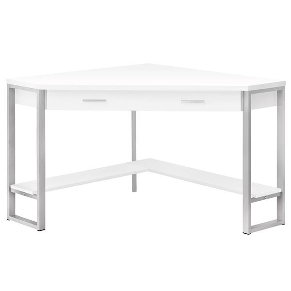 Monarch Corner Computer Desk - White and Silver Metal - 42-in
