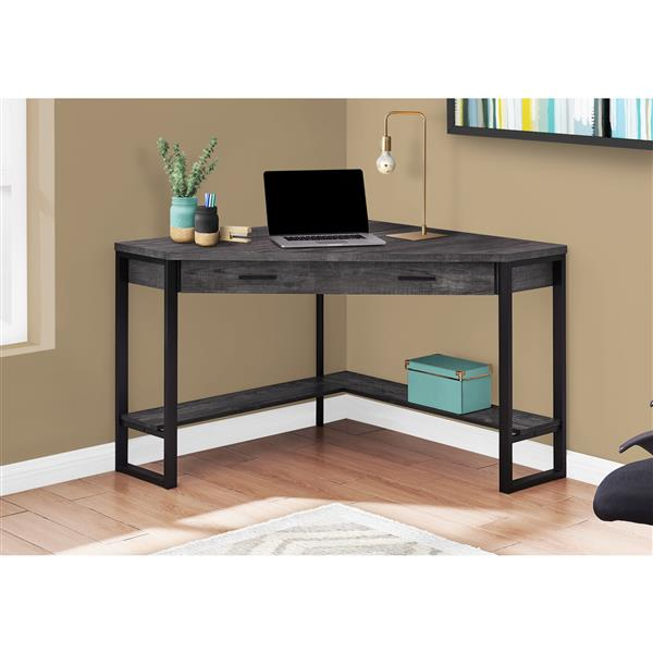 Monarch Specialties Monarch Corner Computer Desk Black Reclaimed Wood 42 In Rona