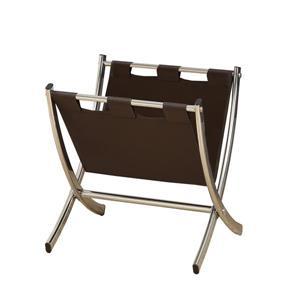 Porte magazine en similicuir brun foncé et chrome, 15 po x 15 po