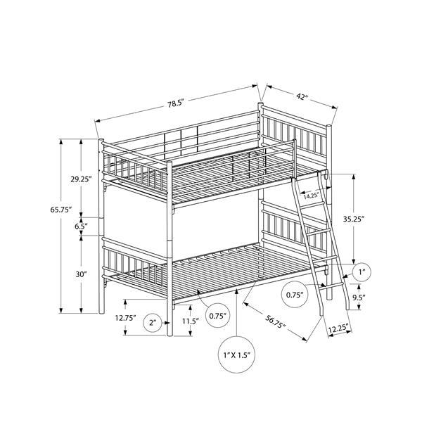 Monarch Bunk Bed - Detachable Silver Metal - Twin/Twin size