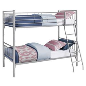 Monarch Bunk Bed - Detachable Silver Metal - Twin/Twin size