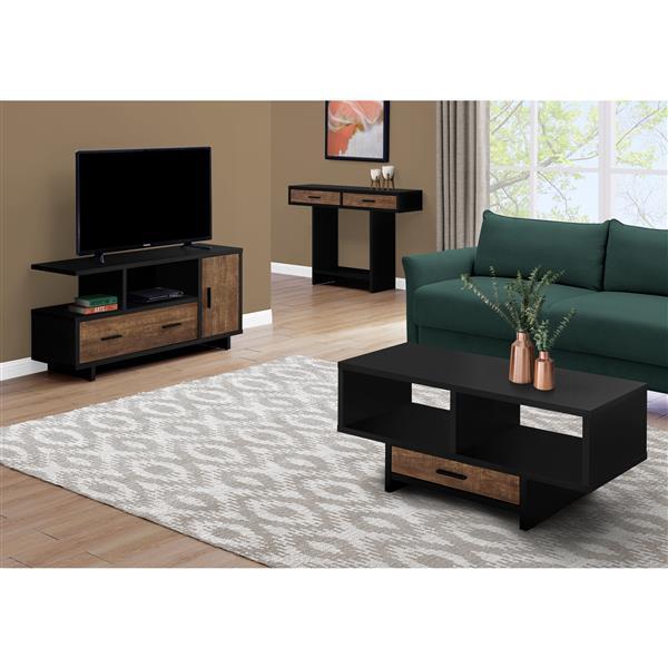 Monarch Coffee Table - Black/Brown Reclaimed Wood-Look
