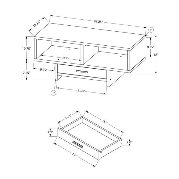 Table de salon Monarch avec rangement, noir et imitation de bois brun