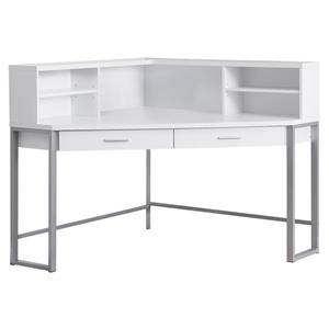 Monarch Corner Computer Desk - White and Silver Metal - 48-in
