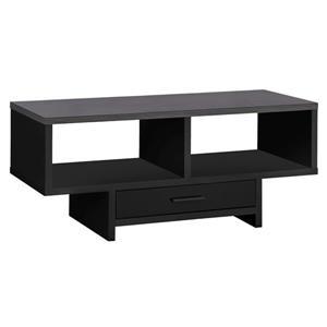 Table de salon Monarch avec rangement, noir et dessus gris