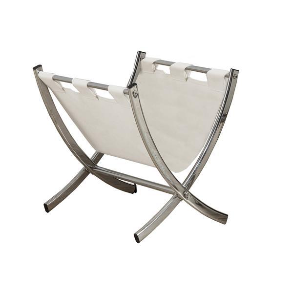 Porte magazine en similicuir blanc et chrome, 15 po x 15 po