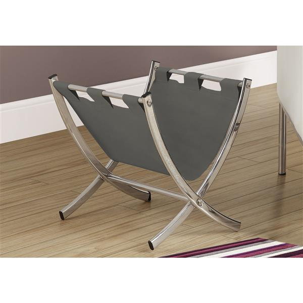 Monarch Magazine Rack - Grey Leather-Look/Chrome Metal - 15-in