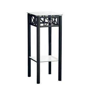 Table d'appoint Monarch, métal noir et verre trempé, 28 po