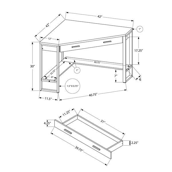 Monarch Corner Computer Desk - Dark Taupe and Silver Metal - 42-in