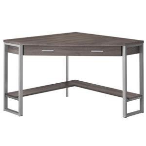 Monarch Corner Computer Desk - Dark Taupe and Silver Metal - 42-in