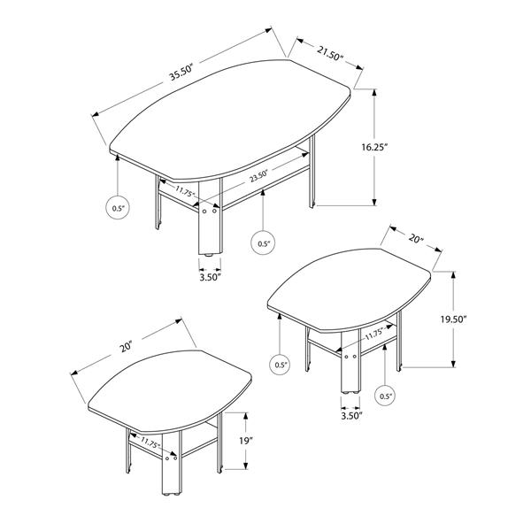 Monarch Oval Table set for living room - Cherry - 3-Piece