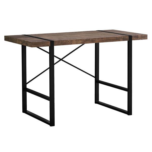 Bureau d'ordinateur Monarch, imitation de bois brun et métal noir, 48 po