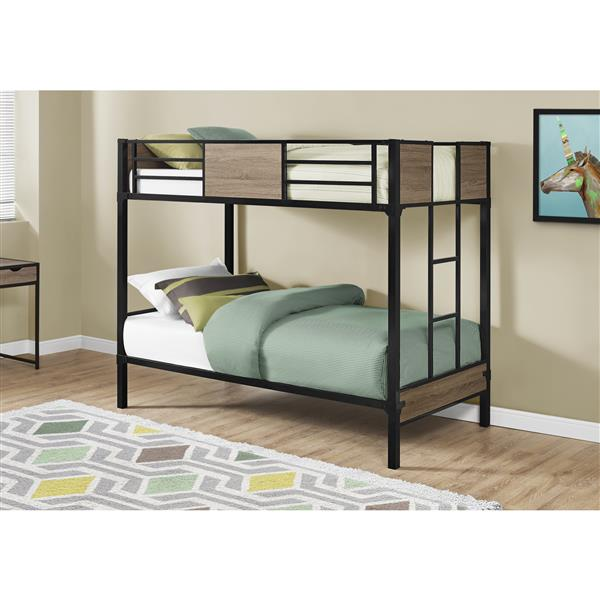 Monarch Bunk Bed - Dark Taupe and Black metal - Twin/Twin