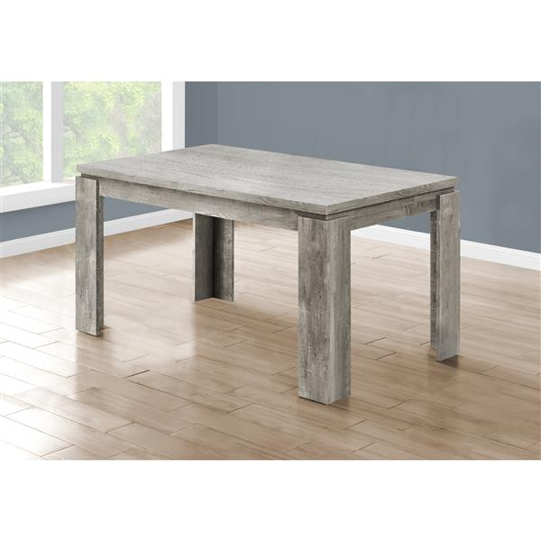 Monarch Dining Table - Grey Reclaimed Wood Look - 36-in X 60-in