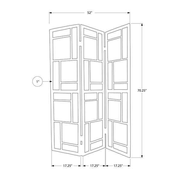Monarch Folding Screen - 3 Panel - Black Frame