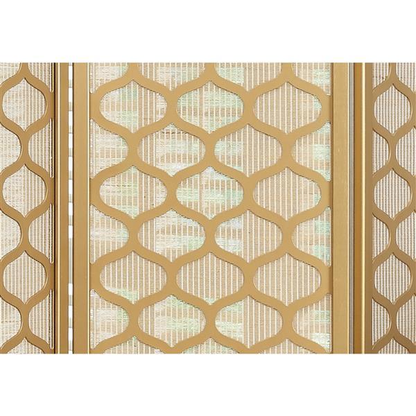 Paravent Monarch avec 3 panneaux, or style lanterne