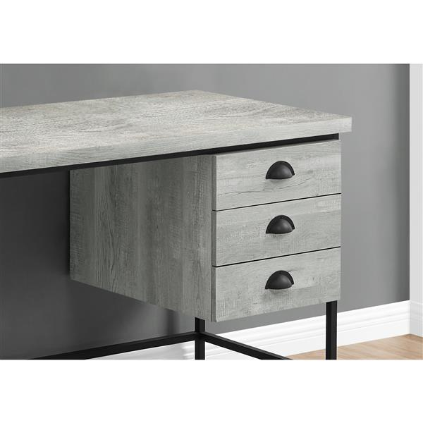 "Monarch Computer Desk - Grey Reclaimed Wood and Black Metal- 55""L"