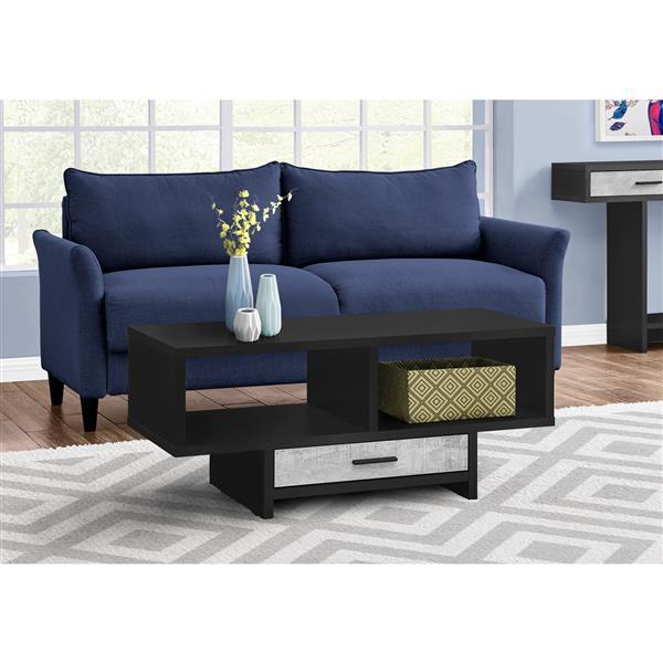 Monarch Coffee Table - Black/Grey Reclaimed Wood-Look