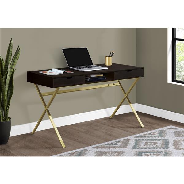 Bureau d'ordinateur, cappuccino et métal doré, 48 po