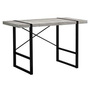 Bureau d'ordinateur Monarch, imitation de bois gris et métal noir, 48 po