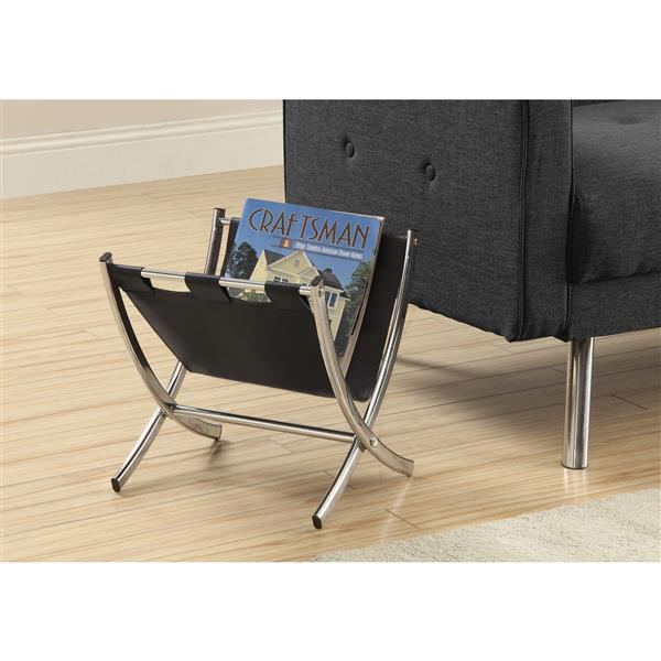 Monarch Magazine Rack - Black Leather-Look/Chrome Metal - 15-in