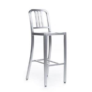 Plata Decor Navy Counter Stool - Brushed Steel - 39-in