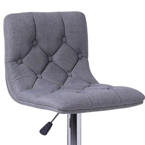 Plata Decor Alan Stool with Adjustable Height- Grey fabric and Chrome - 35-in