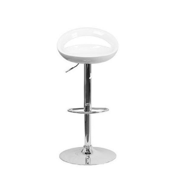 Plata Decor Sonic Adjustable Stool - White and Chrome - 23-in