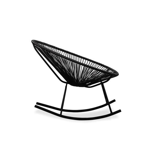 Plata Decor Acapulco Rocking Chair - Black Cord and Black Frame